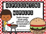 Representing numbers: Build-a-burger! (Math TEKS: K.2B, K.
