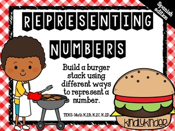 Representing numbers: Build-a-burger! (Math TEKS: K.2B, K.2C, K.2C) Spanish ed.