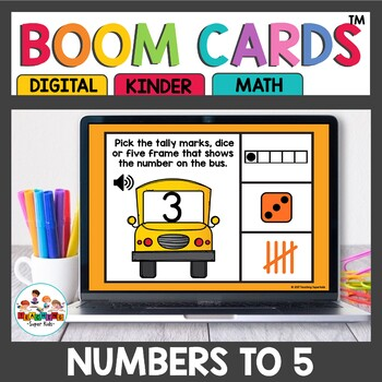 Representing numbers to 5 Digital Task Cards Boom