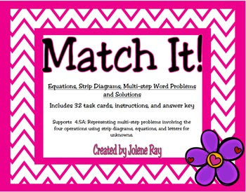 Representing word problems with strip diagrams and equations: TX Math TEKS 4.5A