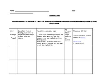 Reproducible Context Clues Chart, differentiated