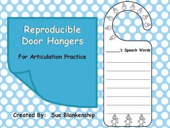 Reproducible Door Hangers for Articulation Practice