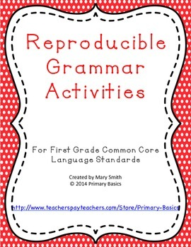 First Grade Common Core Grammar Worksheets