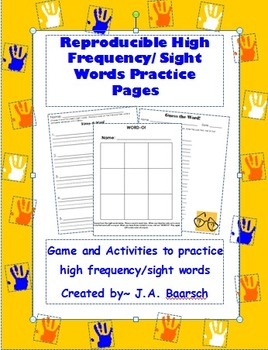 Reproducible High Frequency or Sight Words Practice Pages