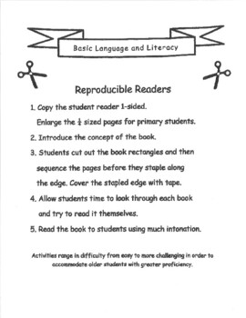 Reproducible Readers, Set 1 - 14 Basic Language and Literacy Mini-Books