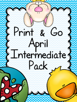 April Print & Go Intermediate Math & Literacy Pack (includ