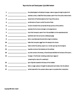 Reproduction and Development Quiz/Worksheet for Biology II