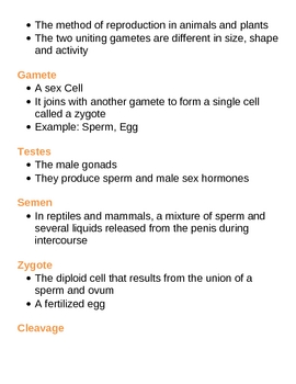 Reproduction and Development Unit Vocabulary Lesson Plan