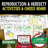 Reproduction and Heredity Activities Choice Board, Digital Graphic Organizers