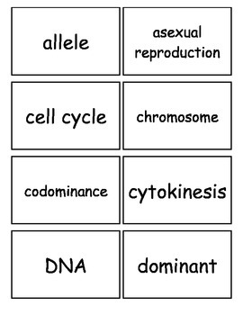 Reproduction and Heredity Flash cards, Middle School Science, 6-8 Science Fusion