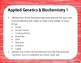 Applied Genetics and Biochemistry Warm Up or Exit Ticket D
