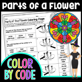 Parts of a Flower and Reproduction Science Color By Number