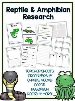 Reptile & Amphibian Research Project 12 Types, Vocab Cards, Packet, Book & More