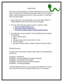 Reptile Essay Guidelines - Middle School