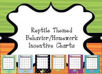 Reptile Themed Behavior/Homework Incentive Charts