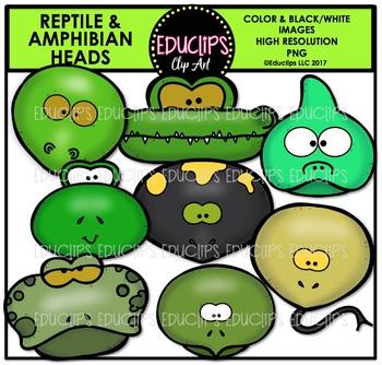 Reptile and Amphibian Animal Heads Clip Art Bundle {Educlips Clipart}