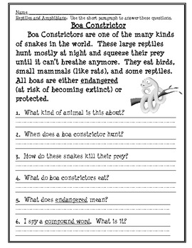 Reptile and Amphibian Fresh Reads for Reading Comprehension