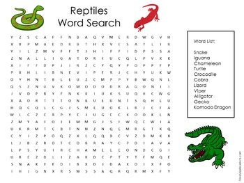 Reptiles Activity | Reptiles Word Search | Reptiles Science