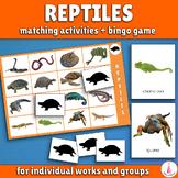 Reptiles Bingo Game and Matching Activities