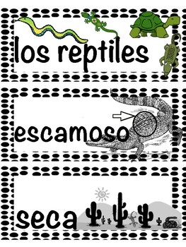 Reptiles / Los reptiles  - Vocab Bundle and Literacy Centers - Spanish