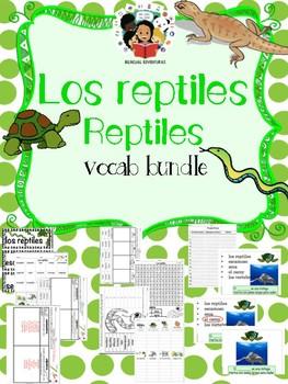 Reptiles / Los reptiles  - Vocab Bundle and Literacy Cente