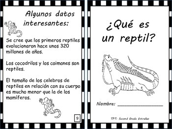 Reptiles Mini-Book in SPANISH