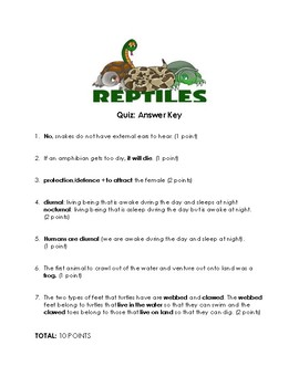 Reptiles Quiz and Answer Key
