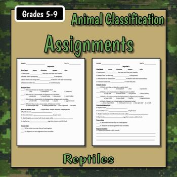 Reptiles Teacher Notes & Assignments