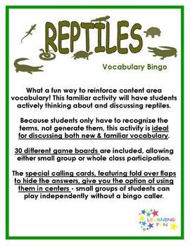 Reptiles Vocabulary Bingo