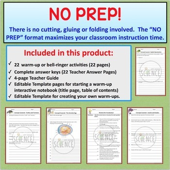 Reptiles Warm Ups, Bell Ringers, Interactive Notebook Inserts