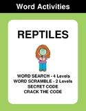 Reptiles - Word Search Puzzles, Word Scramble,  Secret Cod