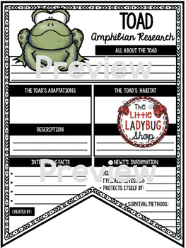 Reptiles and Amphibians Research Activity Templates