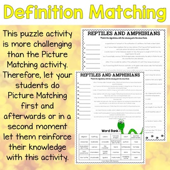 Reptiles and Amphibians ESL Activities Picture and Definition Matching Puzzles