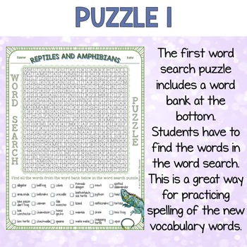 Reptiles and Amphibians Word Search Puzzles