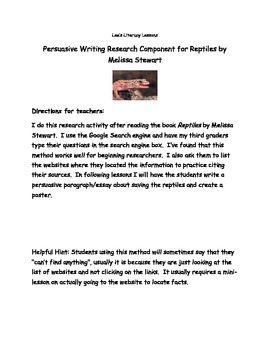 Reptiles by Melissa Stewart Internet Research Activity