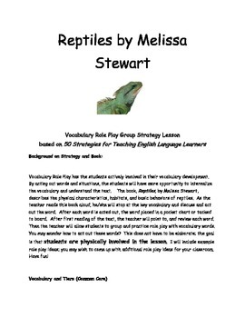 Reptiles by Melissa Stewart Vocabulary Role Play Strategy and Vocabulary Cards