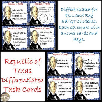 Republic of Texas Differentiated Task Cards