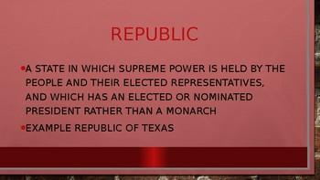republic of texas vocabulary