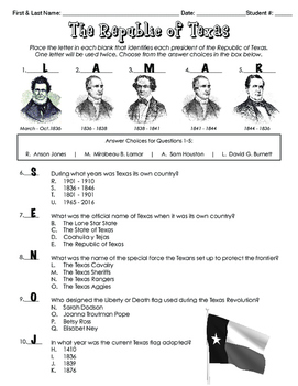 Republic of Texas Quiz (or worksheet)