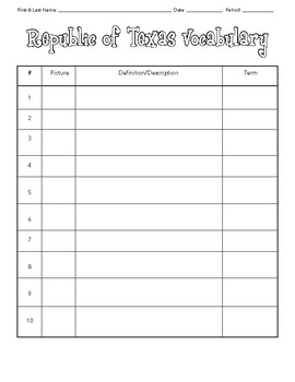 Republic of Texas Vocabulary Quiz Pak (3 quizzes; 5 activities; answer keys)