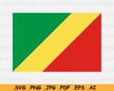 Republic of the Congo National Flag Country Banner Cricut SVG EPS AI PNG JPG PDF