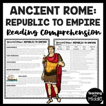 Republic to Empire in Ancient Rome Reading Comprehension Worksheet