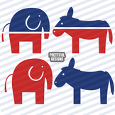 Republican Elephant and Democratic Donkey Clip Art Commercial Use