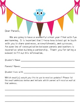 Owl Theme Request for Parent Email information