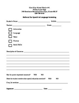 Request for Screening