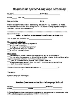 Request for speech language screening