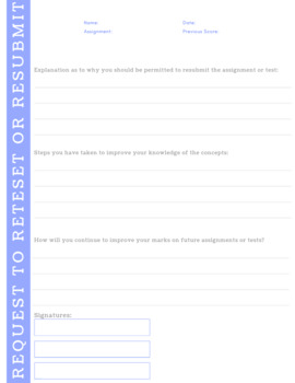 Request to Resubmit Form