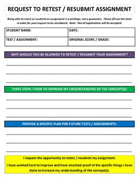 Request to Retest / Resubmit Work