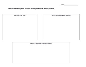 Rereading Practice Graphic Organizer