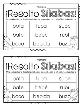 Resalto Sílabas-Reading Two and Three Syllable Words in Spanish